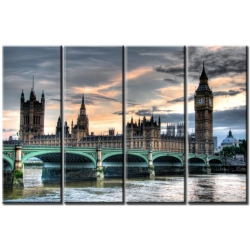 London 4-teiliges Leinwandbild 120x80 cm