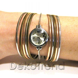 Damen Armbanduhr Dreifarbig