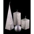 Bemalte Kerzen Silber