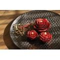 Rosen Blüten Deko Kerzen dunkelrot