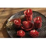 Rosen Knospen Deko Kerzen dunkelrot